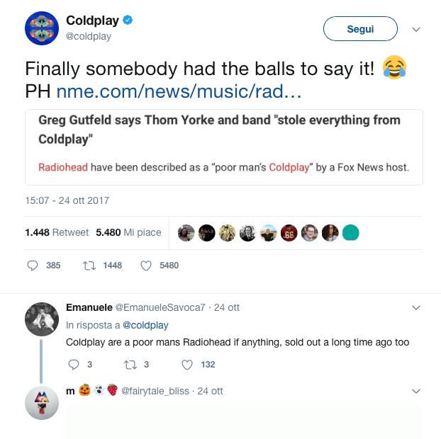 Coldplay radiohead contro