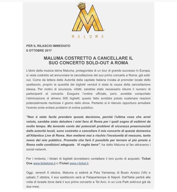 maluma concerto annullato italia curiosità