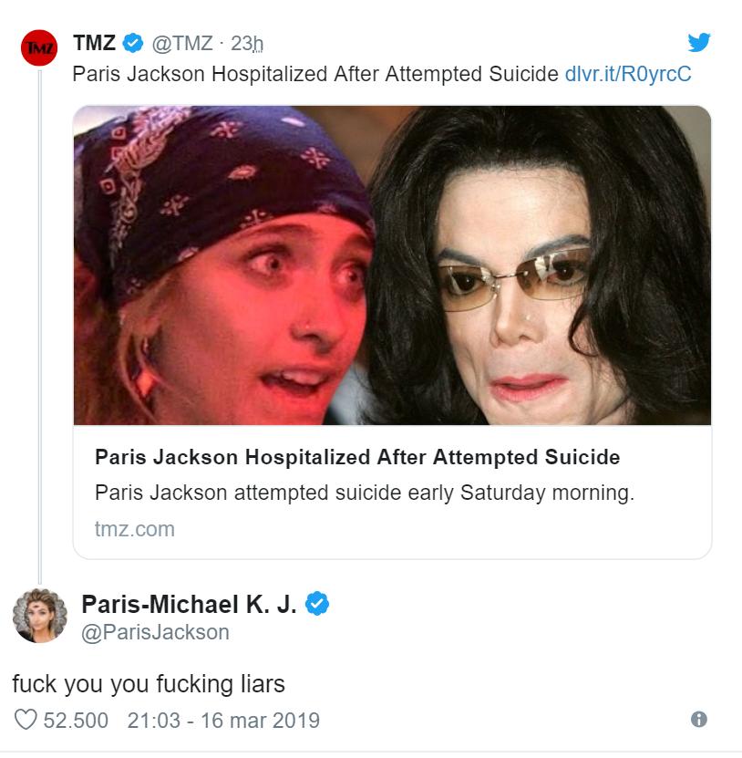 Paris Jackson tenta suicidio